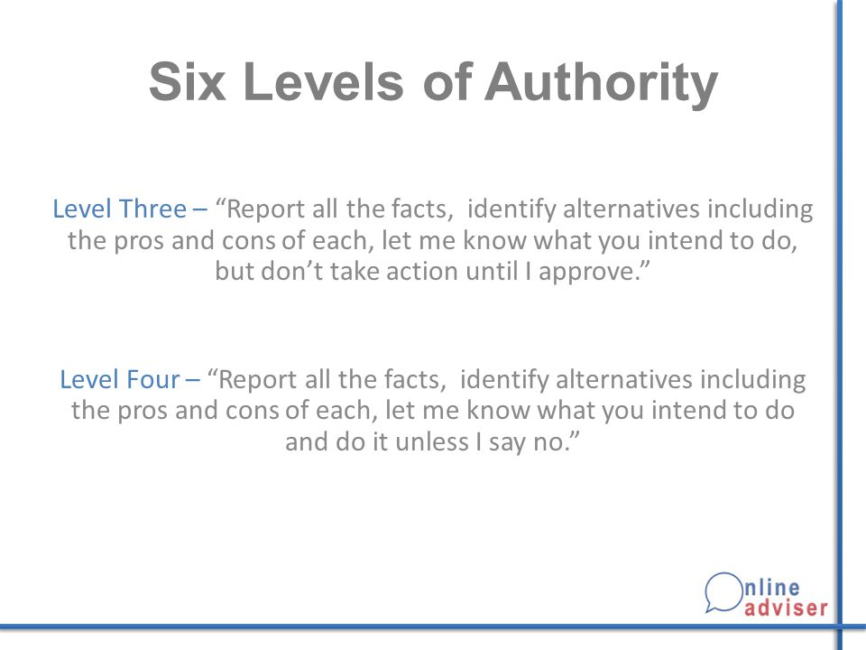 Six Levels of Authority