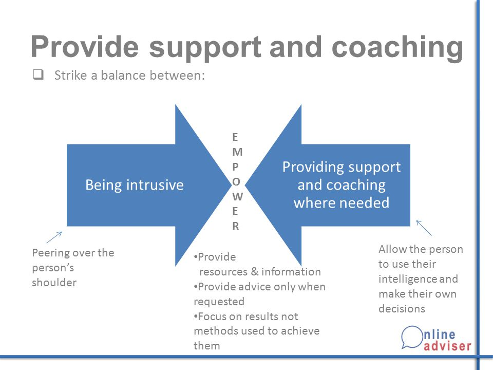 Provide support and coaching