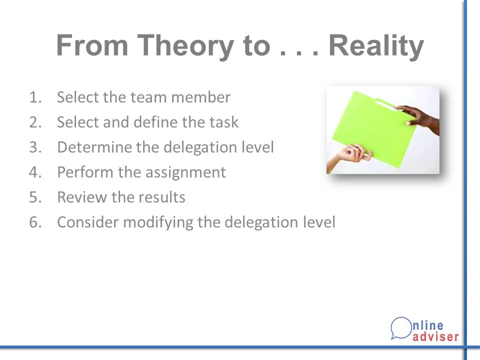 From Theory to . . . Reality Select the team member