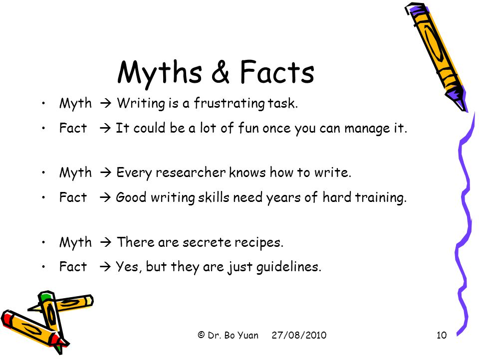 Myths & Facts Myth  Writing is a frustrating task.