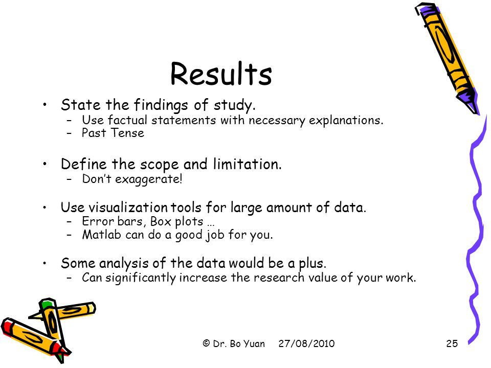 Results State the findings of study. Define the scope and limitation.