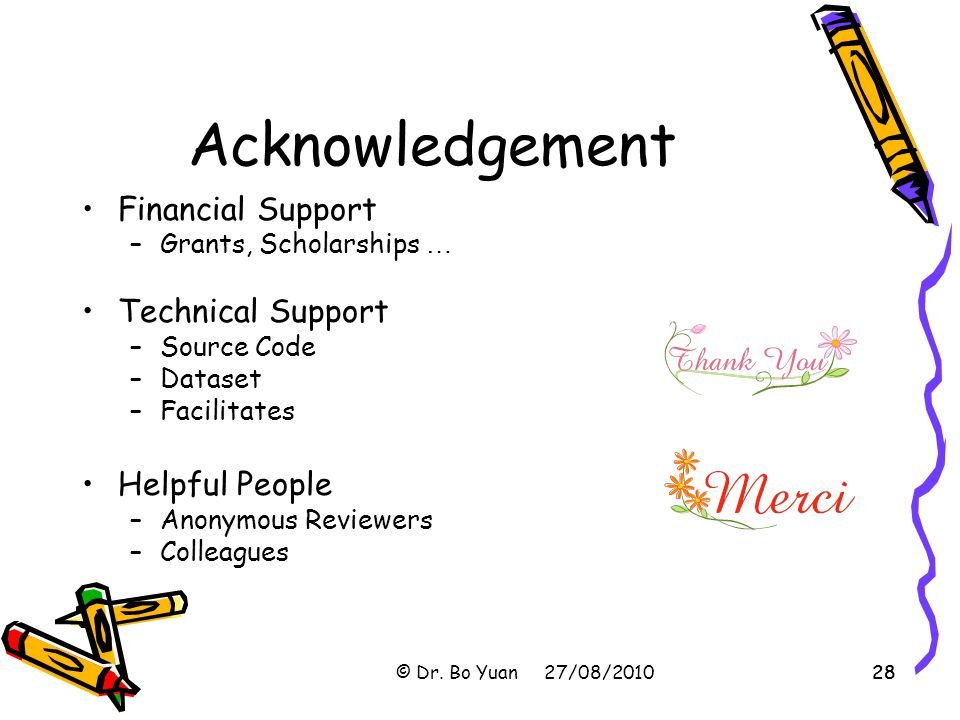 Acknowledgement Financial Support Technical Support Helpful People