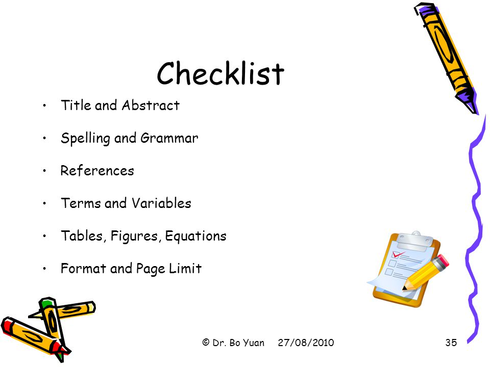 Checklist Title and Abstract Spelling and Grammar References
