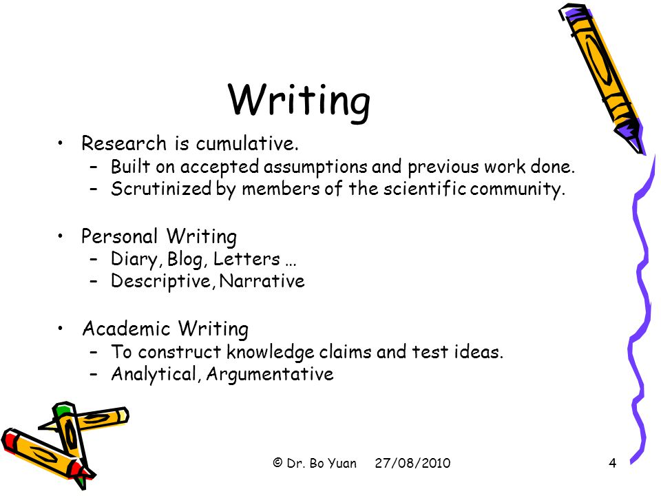 Writing Research is cumulative. Personal Writing Academic Writing