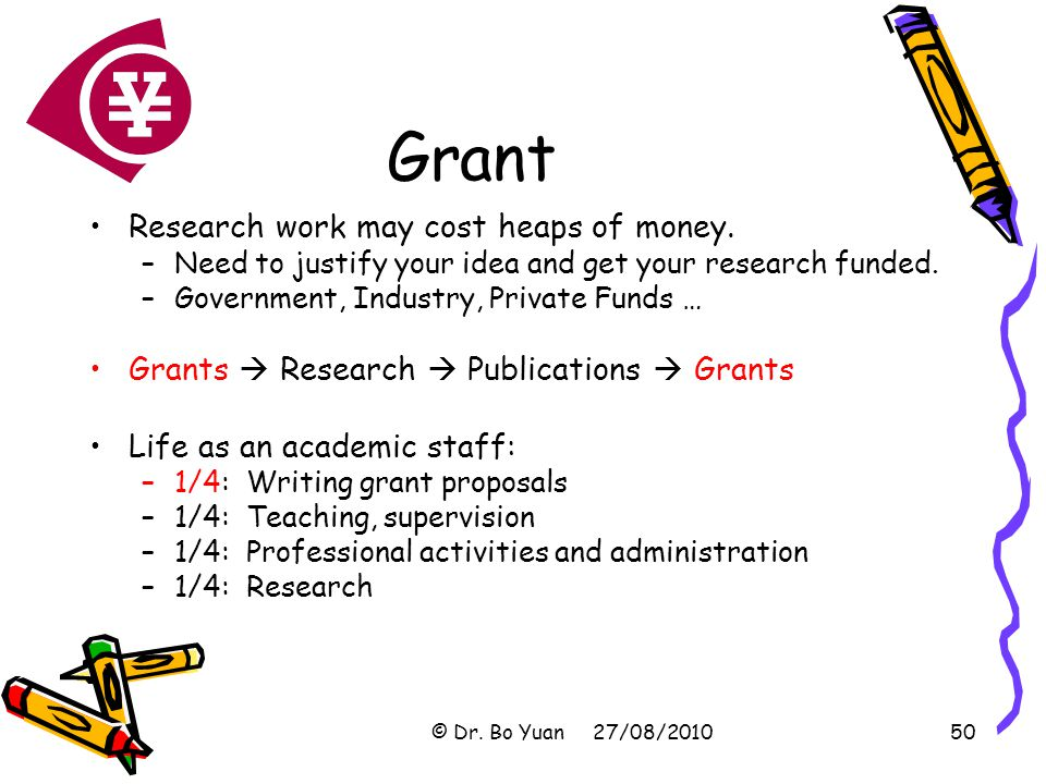 Grant Research work may cost heaps of money.