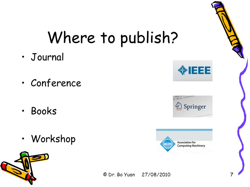 Where to publish Journal Conference Books Workshop