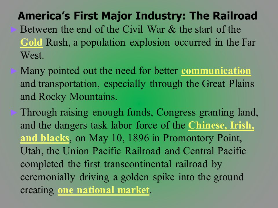 America's First Major Industry: The Railroad