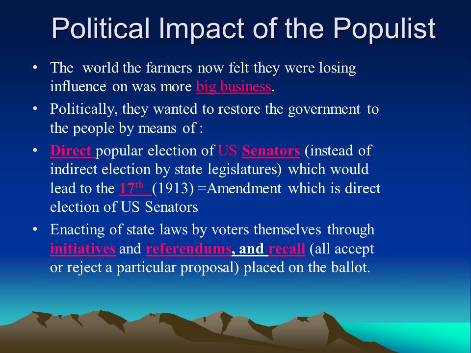 Political Impact of the Populist