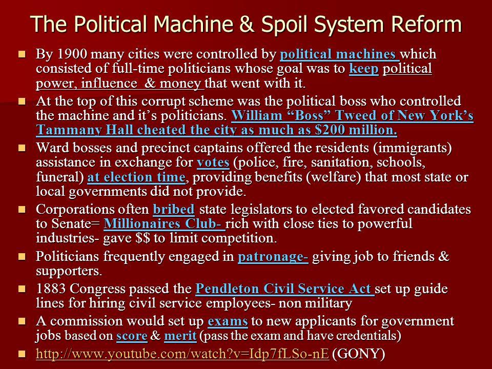 The Political Machine & Spoil System Reform