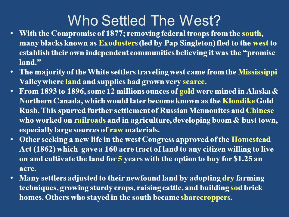 Who Settled The West