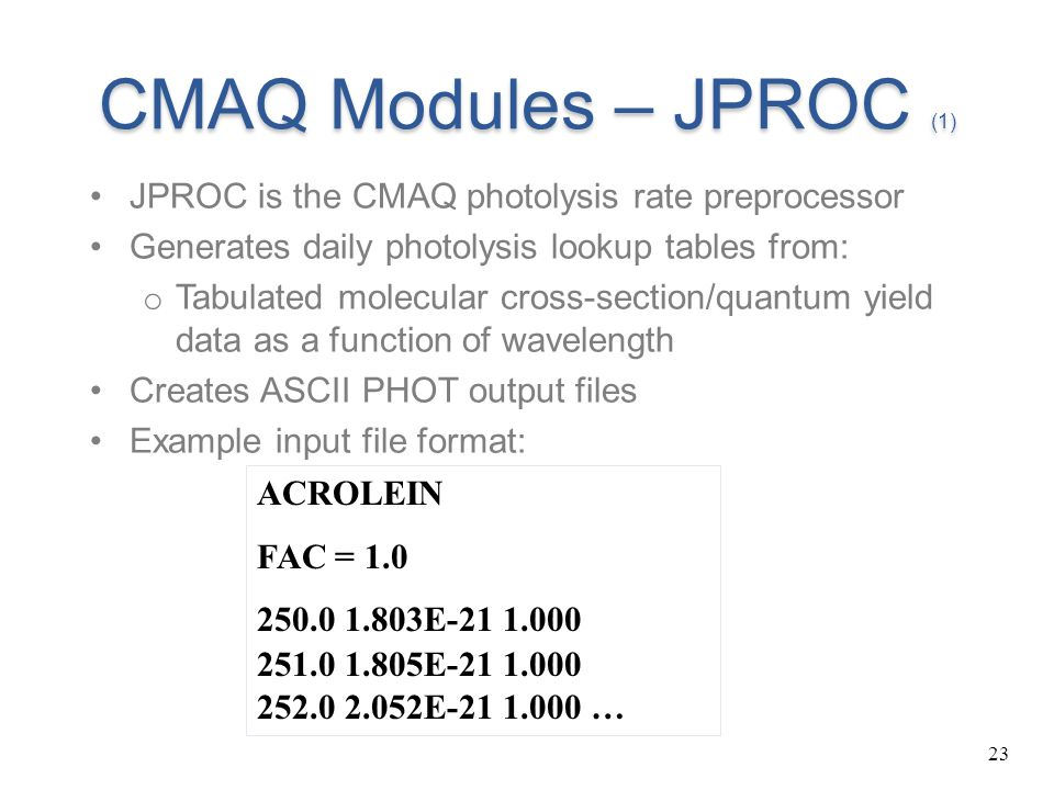 CMAQ Modules – JPROC (1) JPROC is the CMAQ photolysis rate preprocessor. Generates daily photolysis lookup tables from: