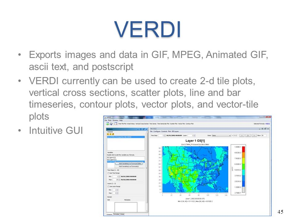 VERDI Exports images and data in GIF, MPEG, Animated GIF, ascii text, and postscript.