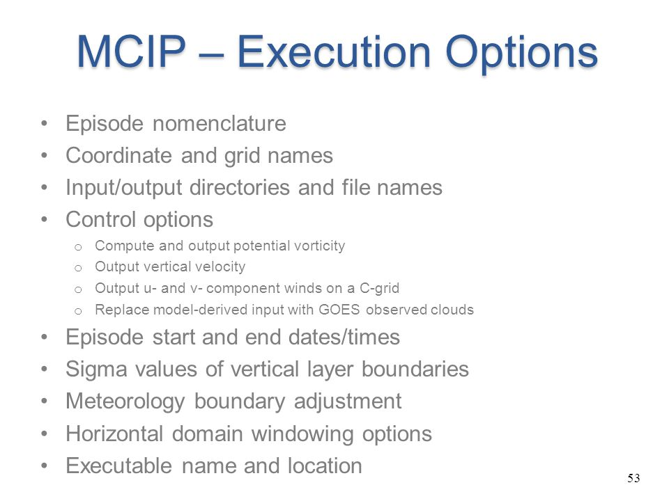 MCIP – Execution Options
