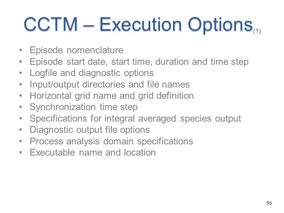 CCTM – Execution Options(1)