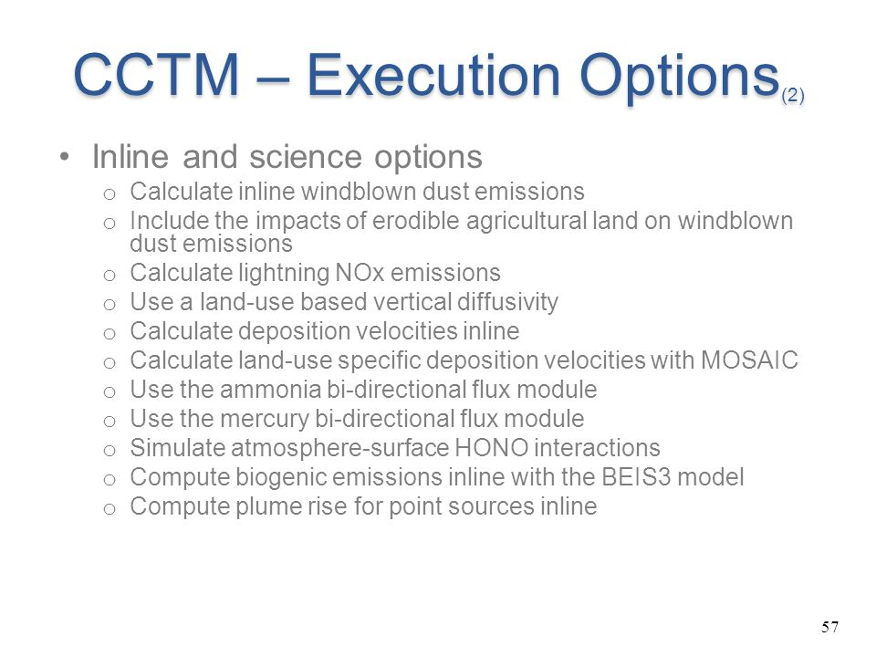 CCTM – Execution Options(2)
