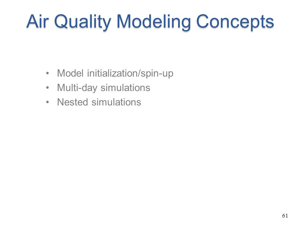 Air Quality Modeling Concepts