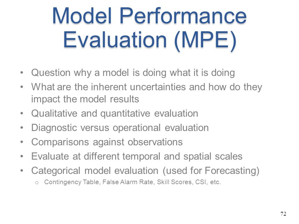 Model Performance Evaluation (MPE)