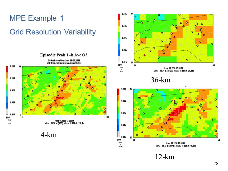 MPE Example 1 Grid Resolution Variability 36-km 4-km 12-km