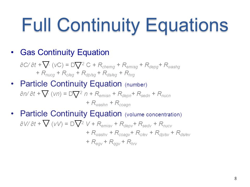 Full Continuity Equations