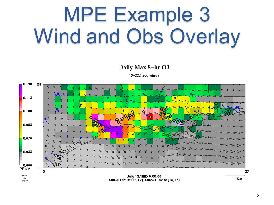 MPE Example 3 Wind and Obs Overlay