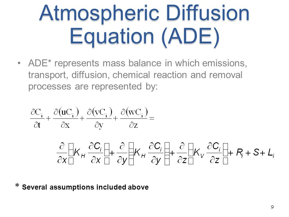 Atmospheric Diffusion Equation (ADE)