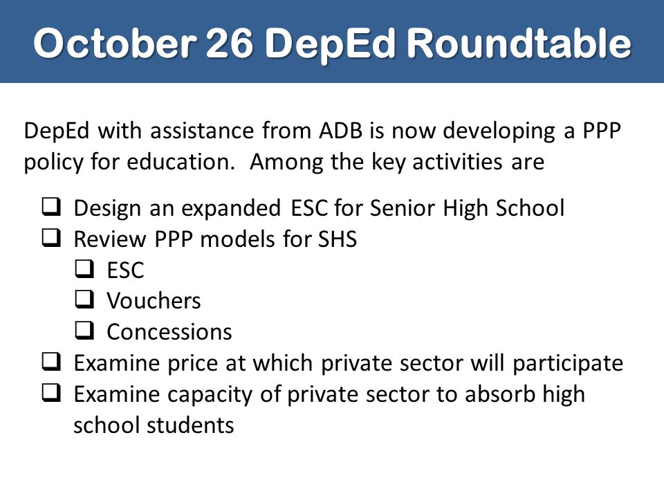 October 26 DepEd Roundtable