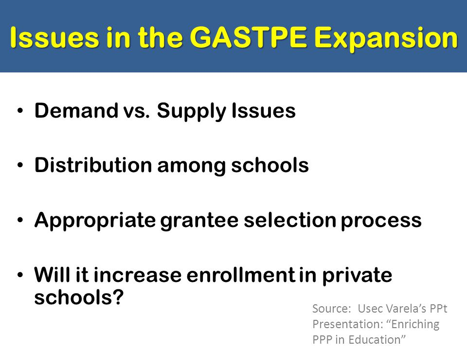 Issues in the GASTPE Expansion