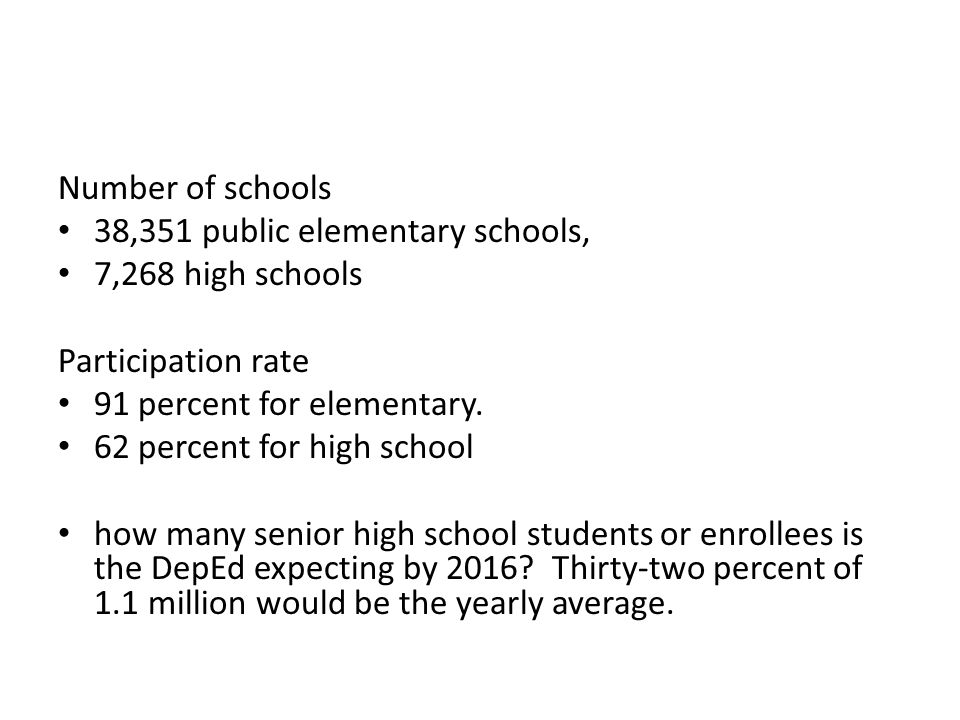 Number of schools 38,351 public elementary schools, 7,268 high schools. Participation rate. 91 percent for elementary.