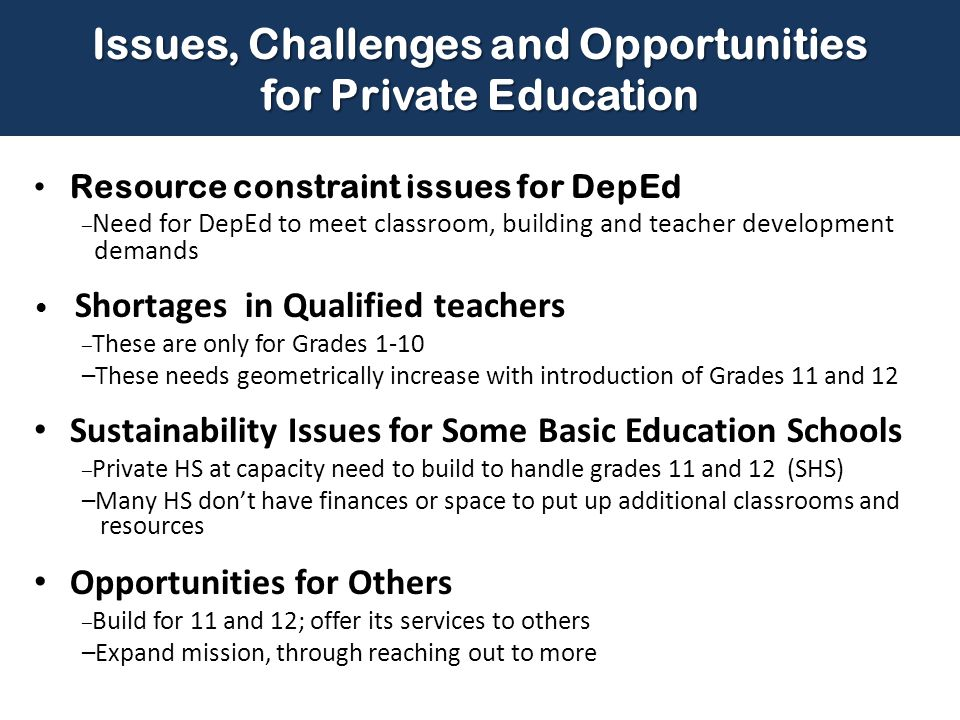Issues, Challenges and Opportunities for Private Education