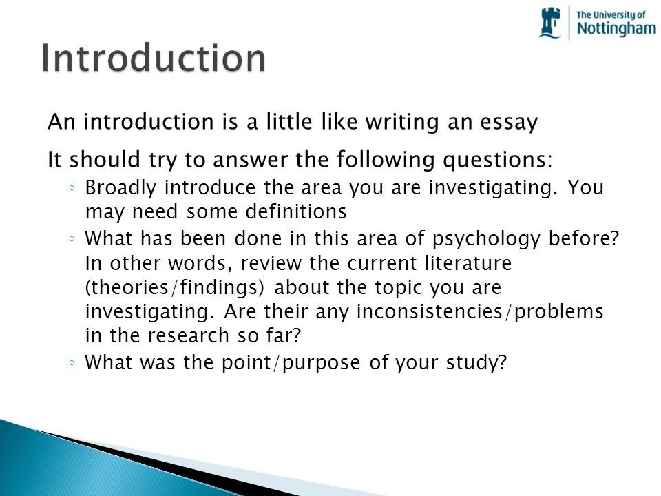 Introduction An introduction is a little like writing an essay