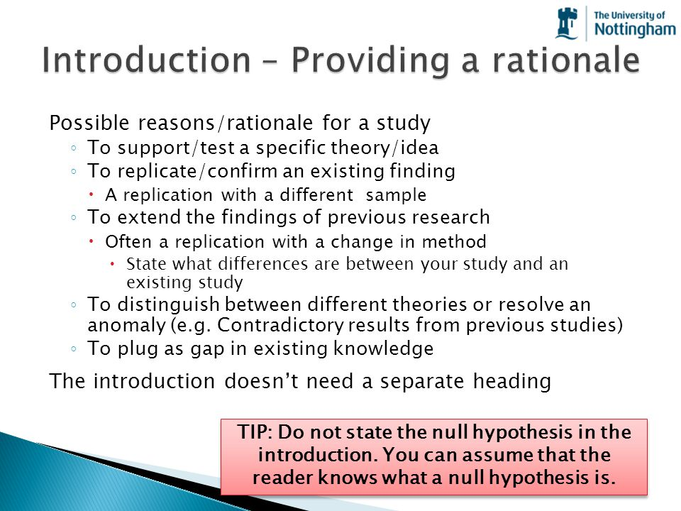 Introduction – Providing a rationale