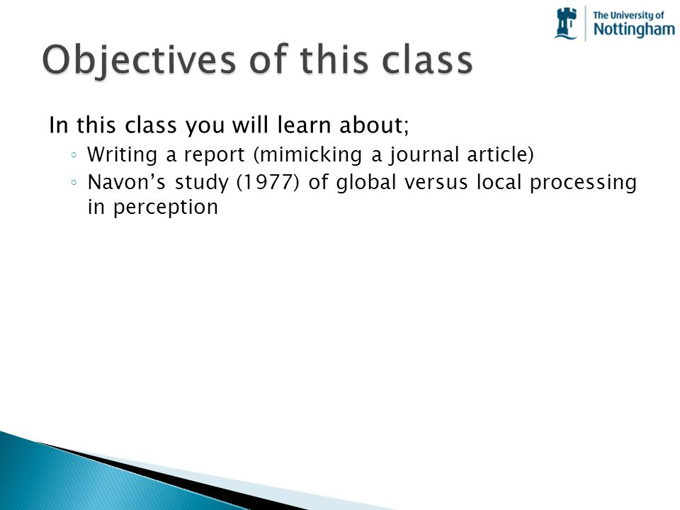 Objectives of this class