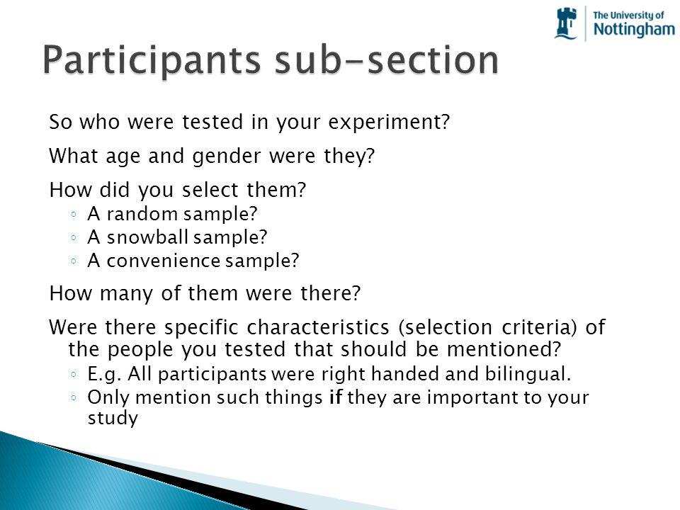 Participants sub-section