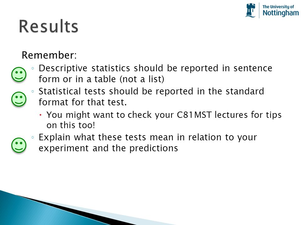 Results Remember: Descriptive statistics should be reported in sentence form or in a table (not a list)
