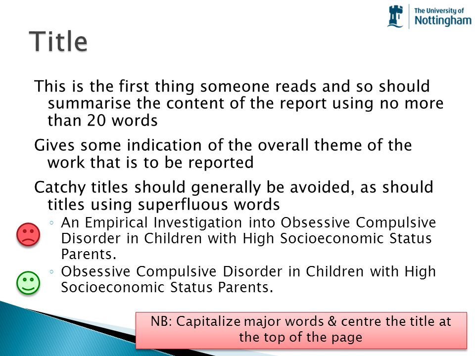 NB: Capitalize major words & centre the title at the top of the page