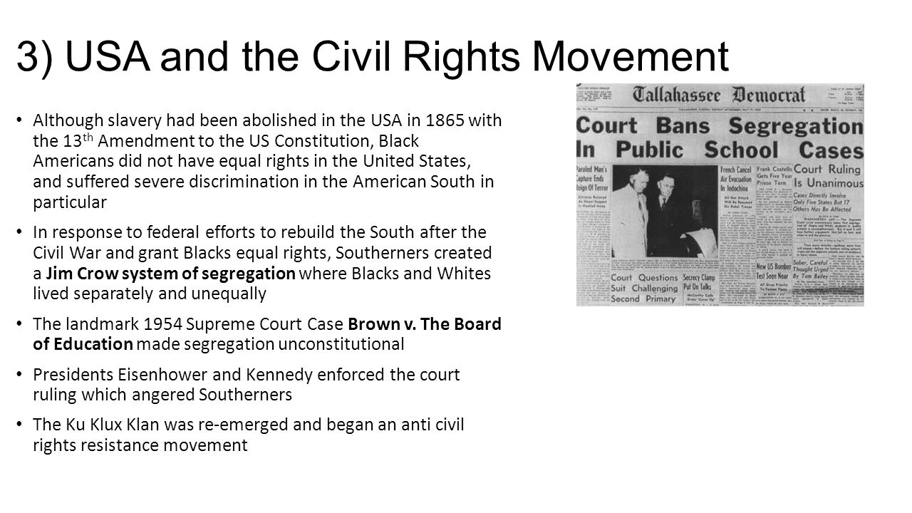 3) USA and the Civil Rights Movement
