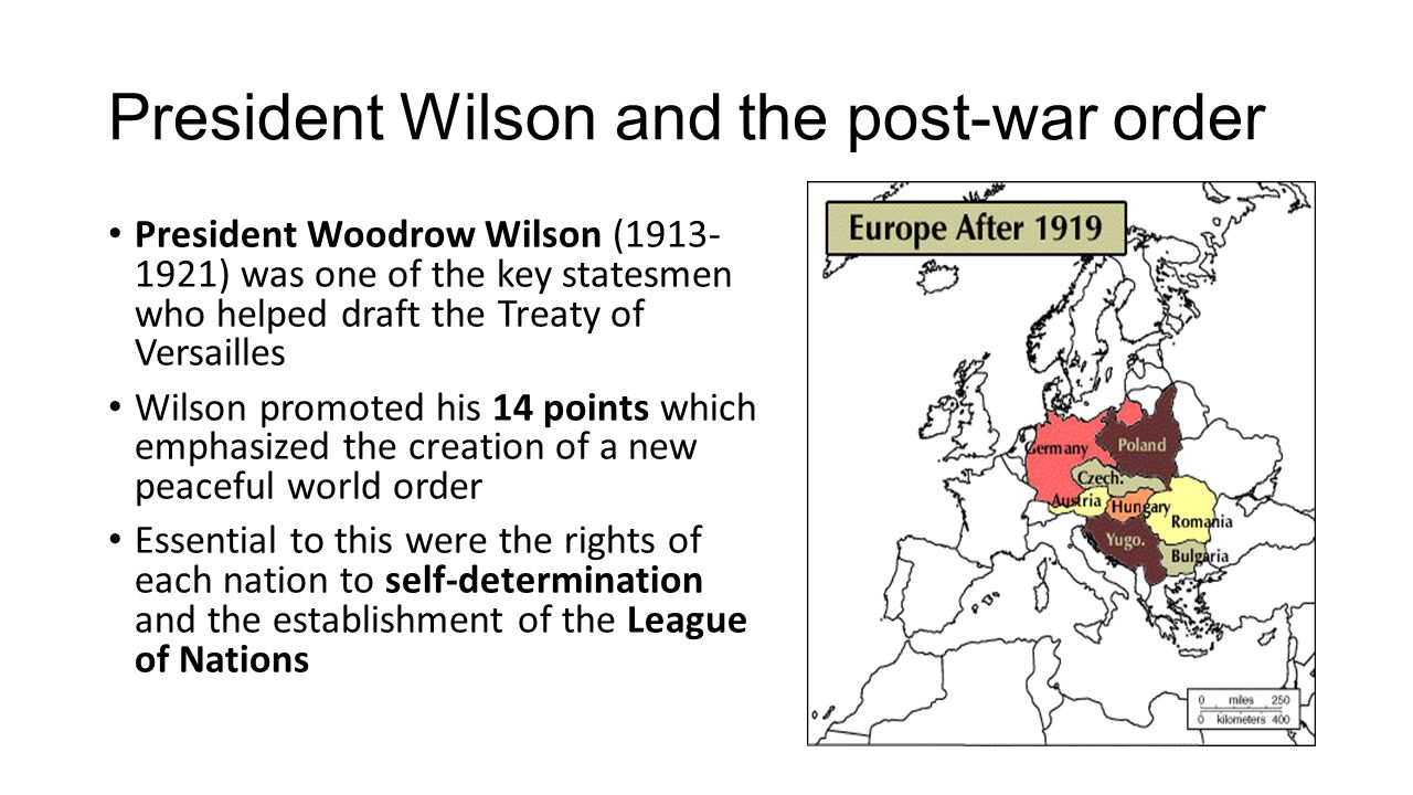President Wilson and the post-war order