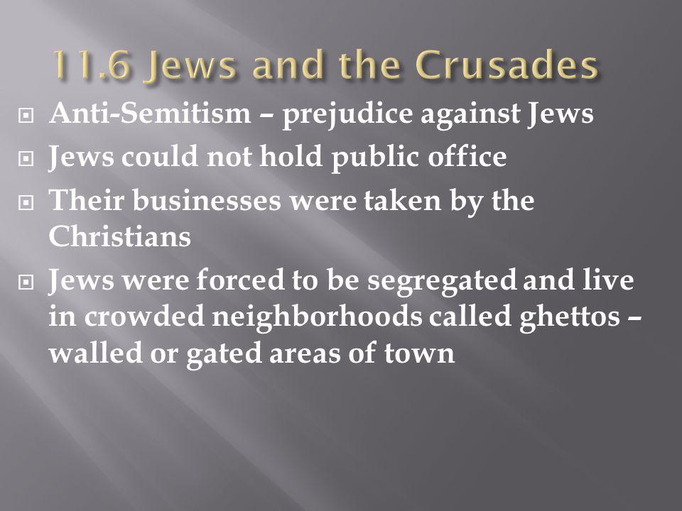 11.6 Jews and the Crusades Anti-Semitism – prejudice against Jews