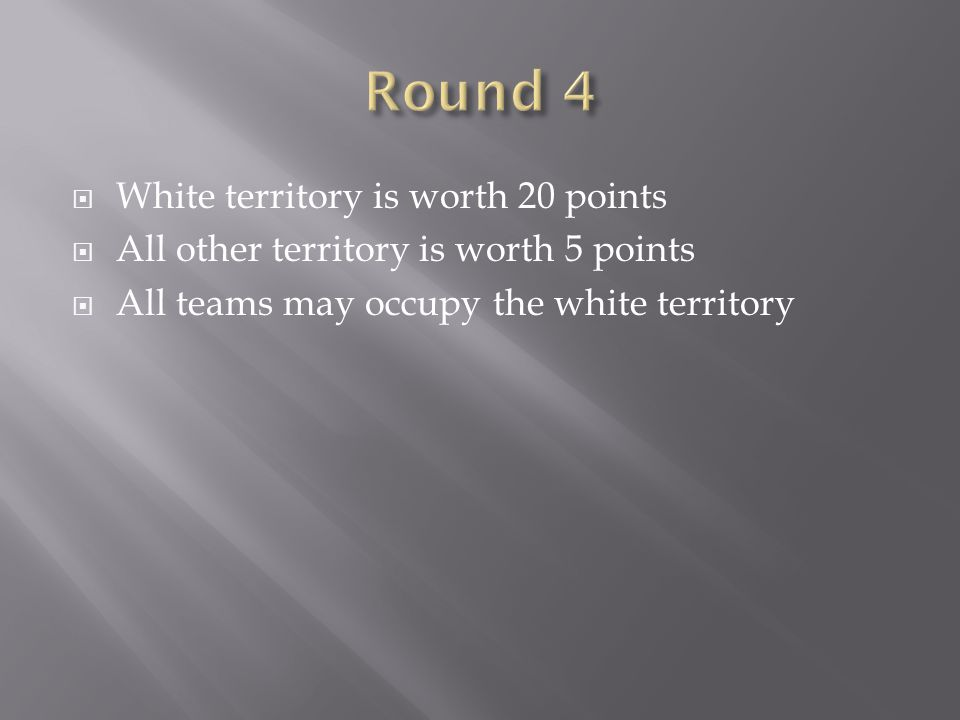 Round 4 White territory is worth 20 points