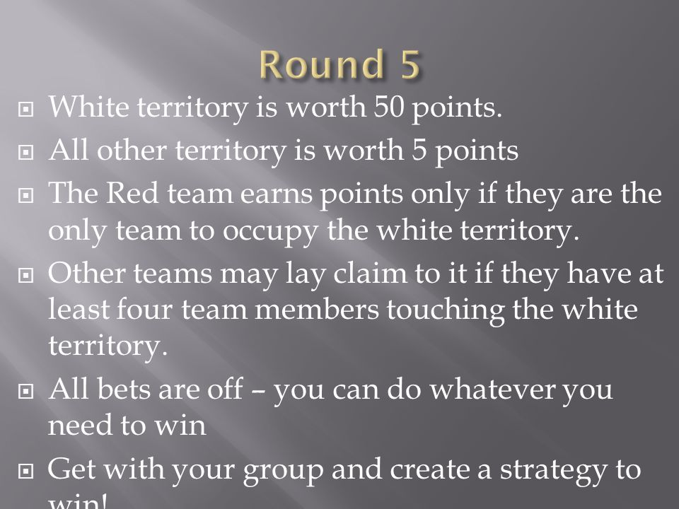 Round 5 White territory is worth 50 points.