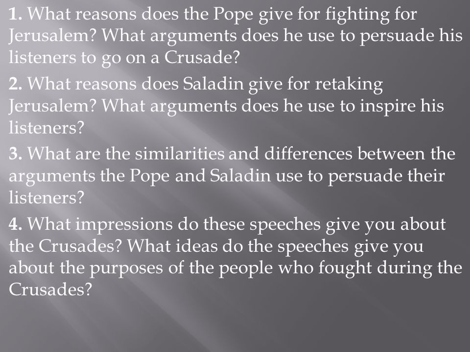 1. What reasons does the Pope give for fighting for Jerusalem