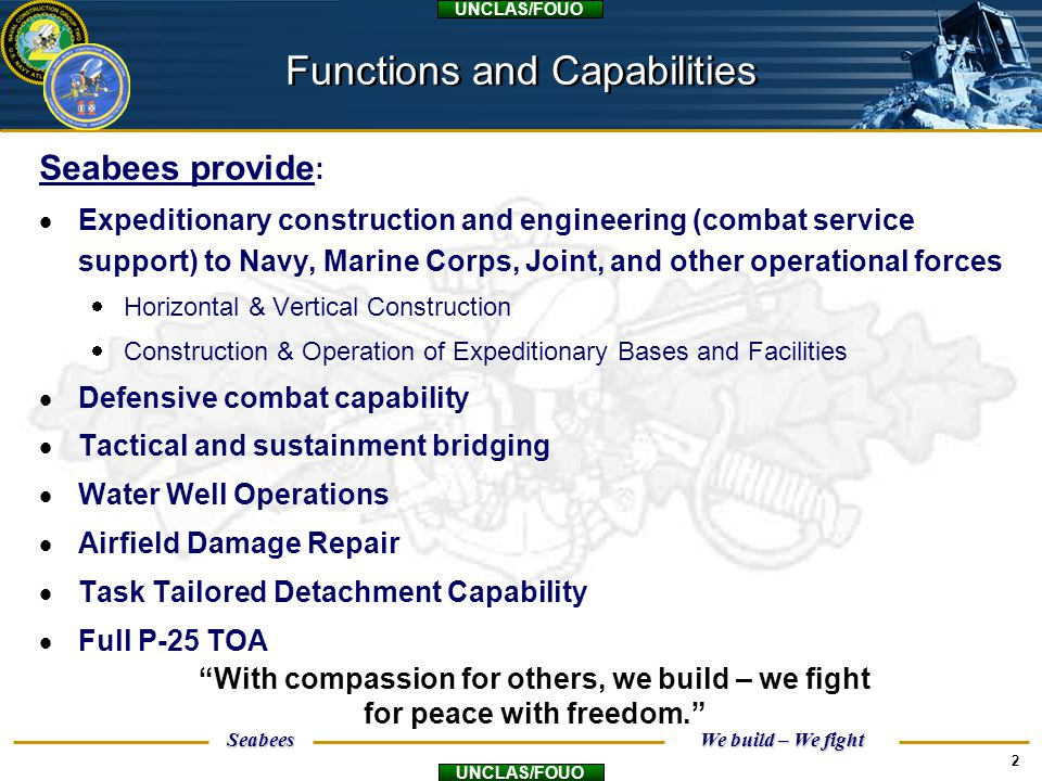 Functions and Capabilities