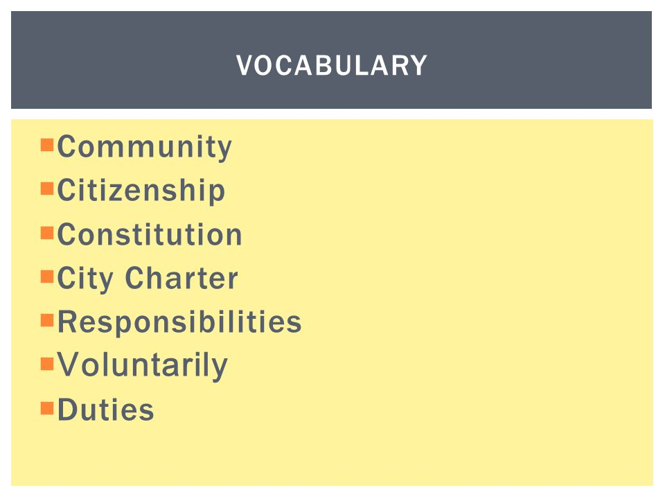 Community Citizenship Constitution City Charter Responsibilities