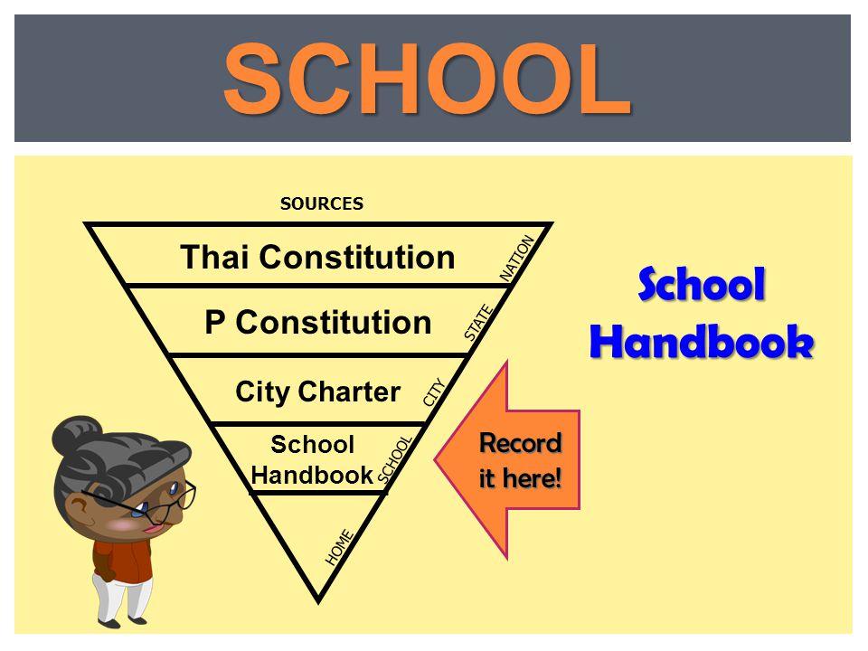 SCHOOL School Handbook Thai Constitution P Constitution City Charter
