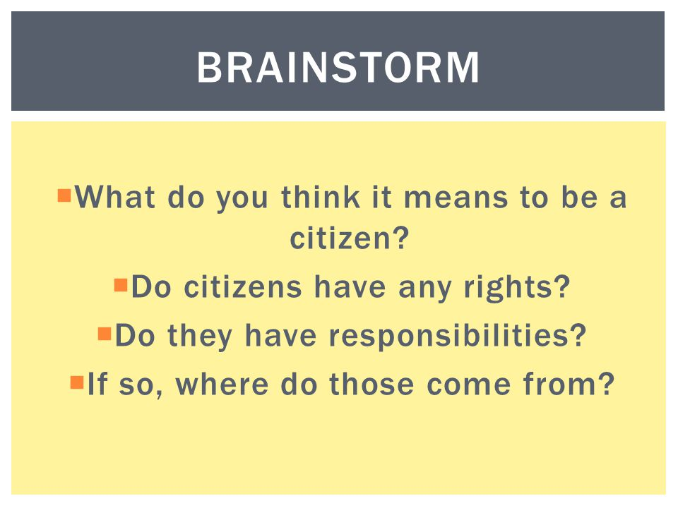 Brainstorm What do you think it means to be a citizen