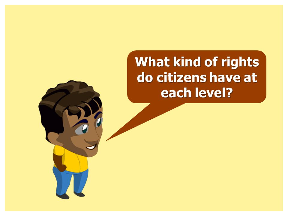 What kind of rights do citizens have at each level