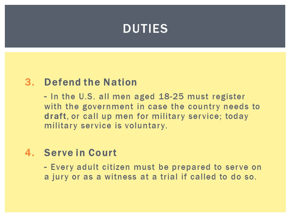 Duties Defend the Nation