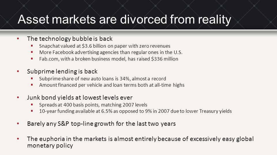 Asset markets are divorced from reality