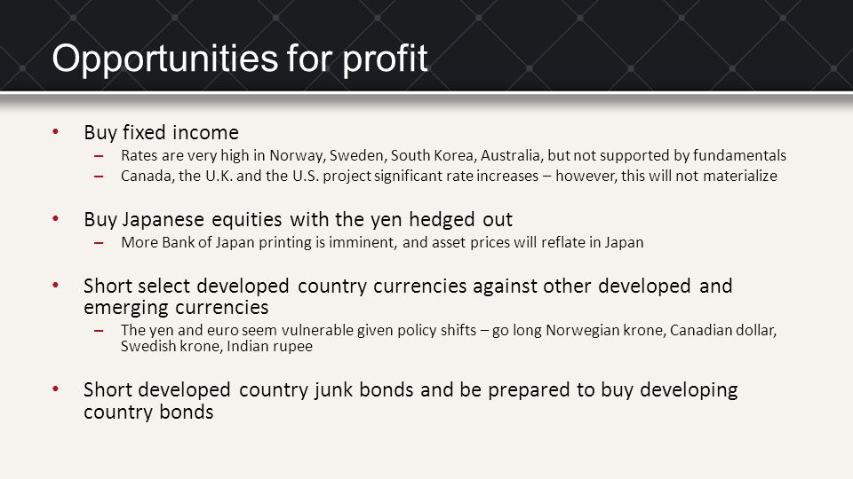Opportunities for profit