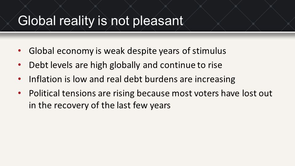 Global reality is not pleasant